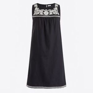 J Crew Black Indian Embroidered Tunic Shift Dress